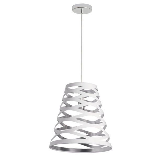Dainolite White on Silver 1-light Cut-out Shade Pendant
