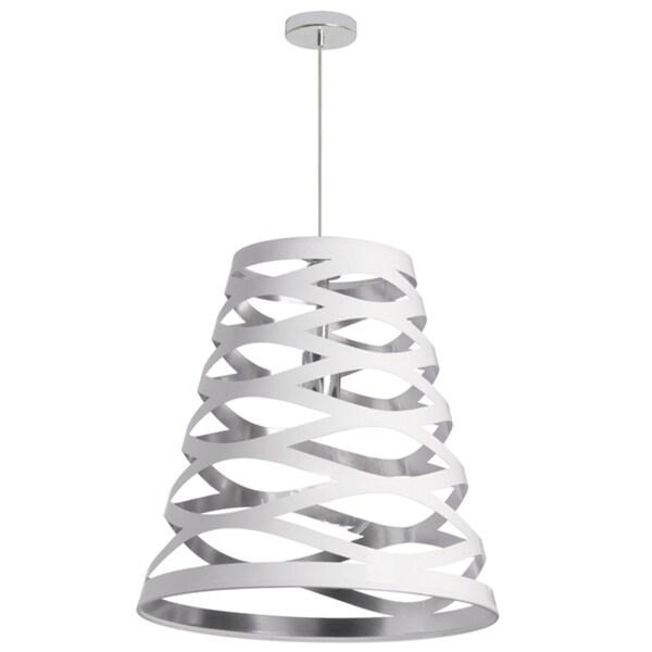 Dainolite White on Silver 1-light Cut-out Shade Pendant