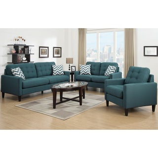 Porter Harlow Deep Teal Living Room Set with 4 Woven Accent Pillows