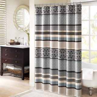 Madison Park Harvard Jacquard Shower Curtain 2-Color Option