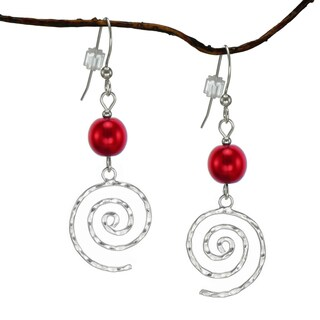 Jewelry by Dawn Red Pearlized Glass Hammered Swirl Sterling Silver Earrings