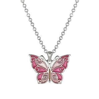 Jewelry by Dawn Pink Butterfly Stainless Steel Chain Necklace