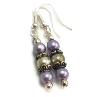 Mama Designs Sterling Silver Handmade Drop-style Purple Earrings