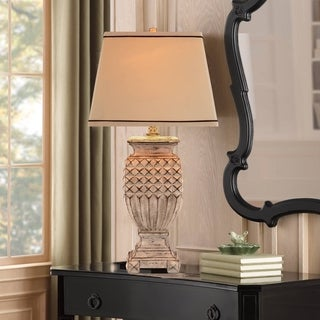 Catalina 19097-001 Antique White 3-way 32-inch Table Lamp with Linen Tapered Hardback Shade
