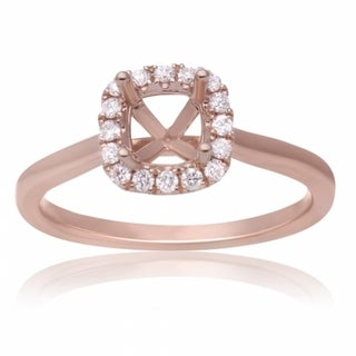 14K Rose Gold Semimount Halo Diamond Ring to fiit a 4.5mm Cushion 19213283