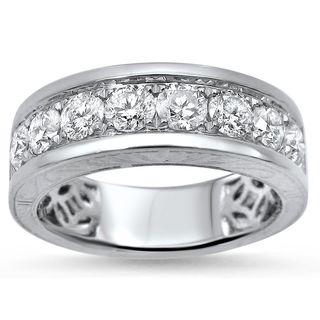 Noori 14k White Gold 1 1/3ct Round Diamond Mens Wedding Band Ring
