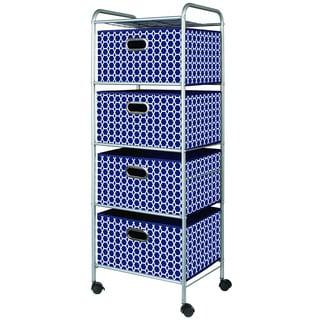 Dark Blue Fabric 4-drawer Cart
