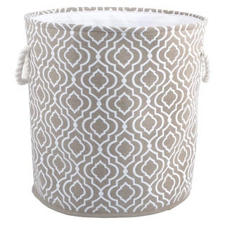 Tan, White Polyester Blend Round Hamper Tote with Rope Handles