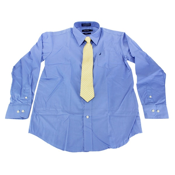 Nautica Boys Blue Cotton Size 14 Dress Shirt