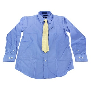 Nautica Boys Blue Cotton Size 14 Dress Shirt