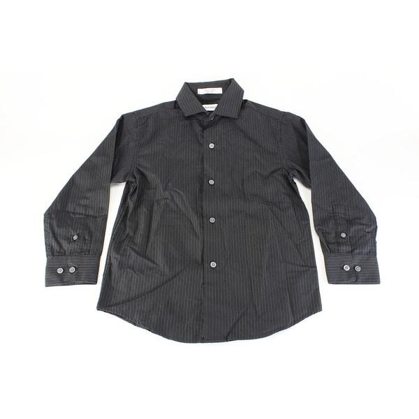 Calvin Klein Boy's Black Cotton Dress Shirt