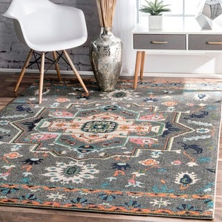 nuLOOM Transitional Tribal Medallion Grey Rug (5' x 8')