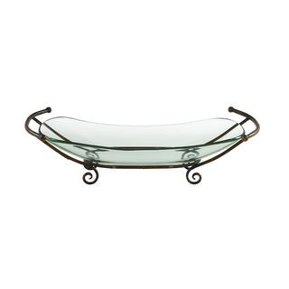 Glass Decorative Bowl with Metal Stand