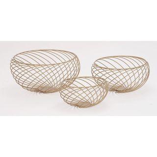 Classy Gold Metal Wire 3-piece Bowl Set