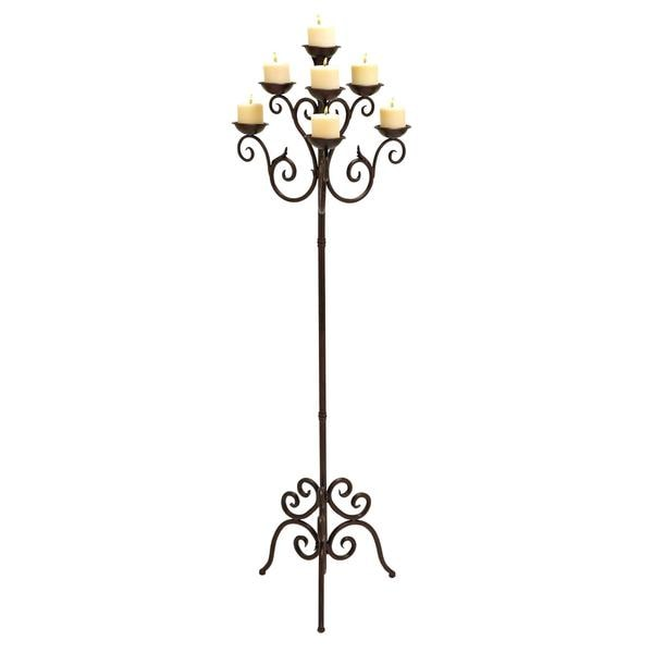 Copper Brown Metal 7-votive Candelabra