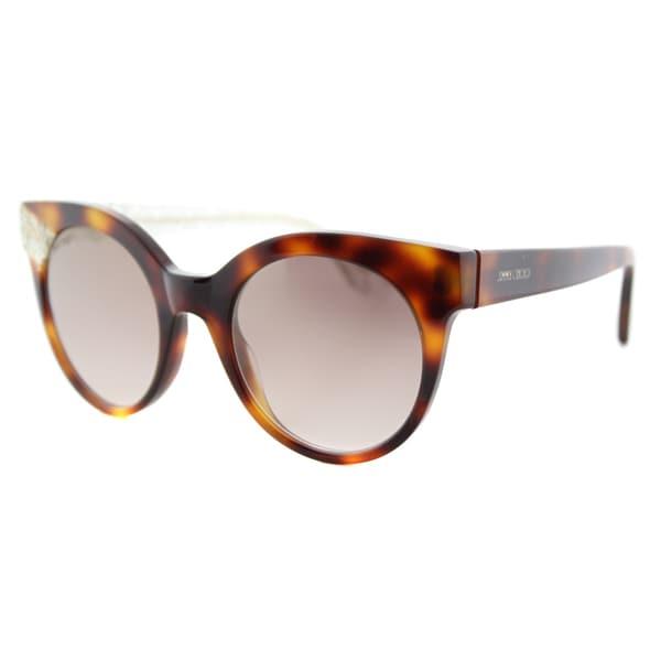 Jimmy Choo Havana Plastic Cat-Eye Sunglasses Gold Mirror Lens