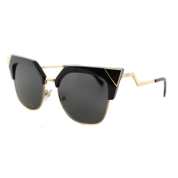 Fendi Iridia Black Gold Metal Grey Lens Cat-Eye Sunglasses