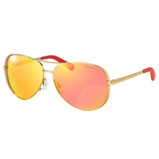 Michael Kors Chelsea Gold Metal Aviator Orange Mirror Lens Sunglasses