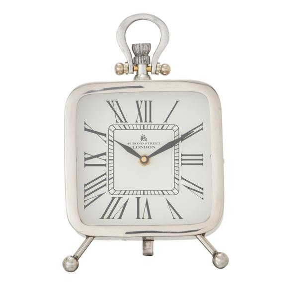 Stainless Steel 6-inch x 10-inch Square Table Clock