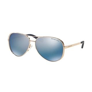 Michael Kors Chelsea Rose Gold Metal Aviator Purple Mirrored Polarized Lens Sunglasses