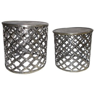 Contemporary Silver Aluminum Accent Tables (Set of 2)