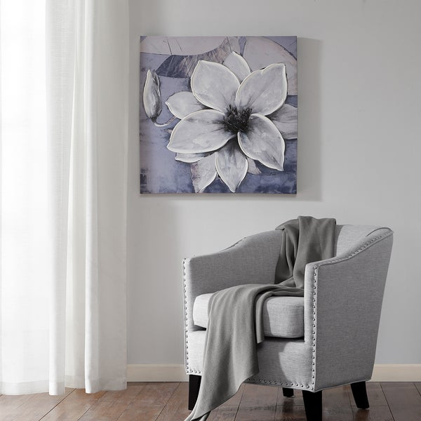Madison Park Dusty Bloom Grey Embellished Printed Canvas