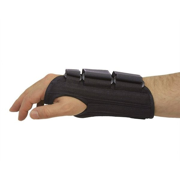 Black Splint Fitted Left Hand Wrist Brace with Three Straps