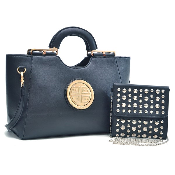 Dasein Gold Tone Loop Handle Shoulder Handbag with Removable Shoulder Strap & Studded Soft Crossbody Bag