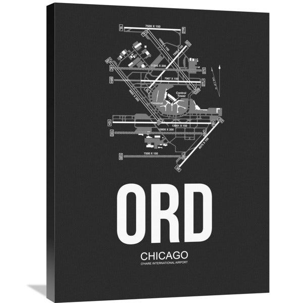 Naxart Studio 'ORD Chicago Airport Black' Stretched Canvas Wall Art