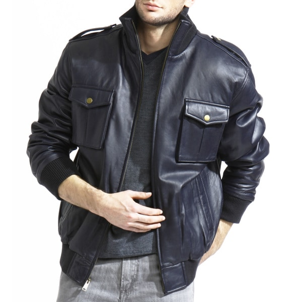 Men's Navy Blue Lamb-leather Bomber Jacket