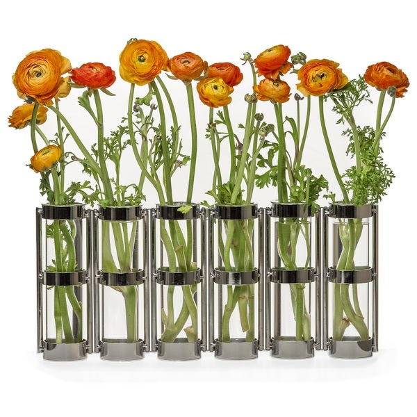 Danya B Metallic Silver Six Tube Hinged Vase