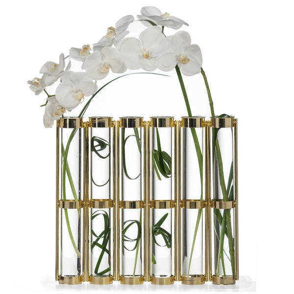 Danya B Tall Metallic Gold Six-Tube Hinged Vase