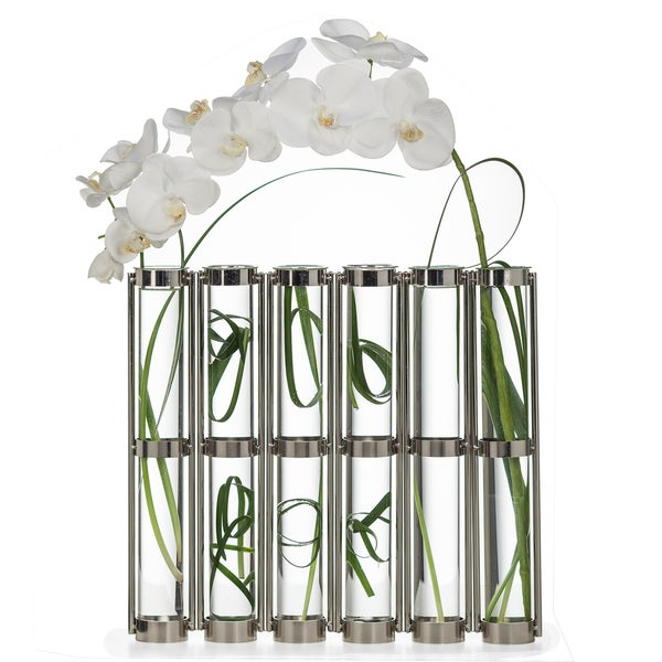 Danya B Tall Metallic Silver Six-Tube Hinged Vase