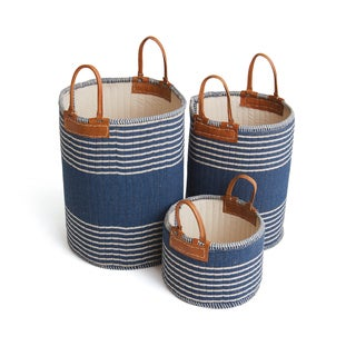 Hip Vintage Multicolor Leather Schumer Baskets (Set of 3)