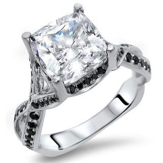 Noori 14k White Gold 2/5-carat Cushion Moissanite Black Diamond Engagement Ring