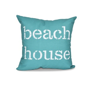 16 x 16-inch Beach House Word Print Outdoor Pillow