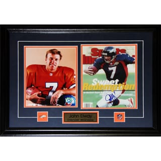 Denver Broncos John Elway 27-inch x 18-inch Signed Two-Photo Frame