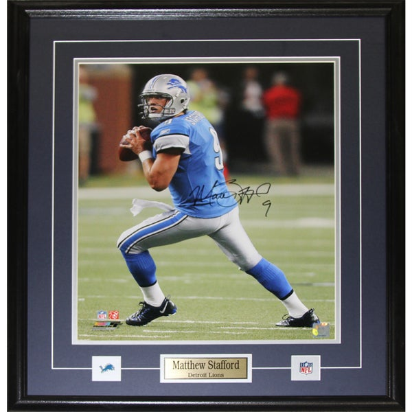 Detroit Lions Matthew Stafford Signed 16-inch x 20-inch Framed Wall Plaque