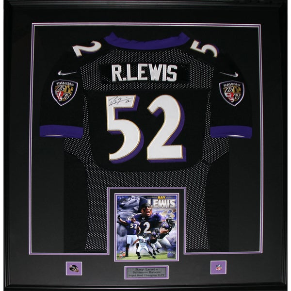 Ray Lewis Baltimore Ravens Signed Jersey Frame