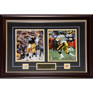 Pittsburgh Steelers Terry Bradshaw Signed 2-photo Framed Wall Plaque