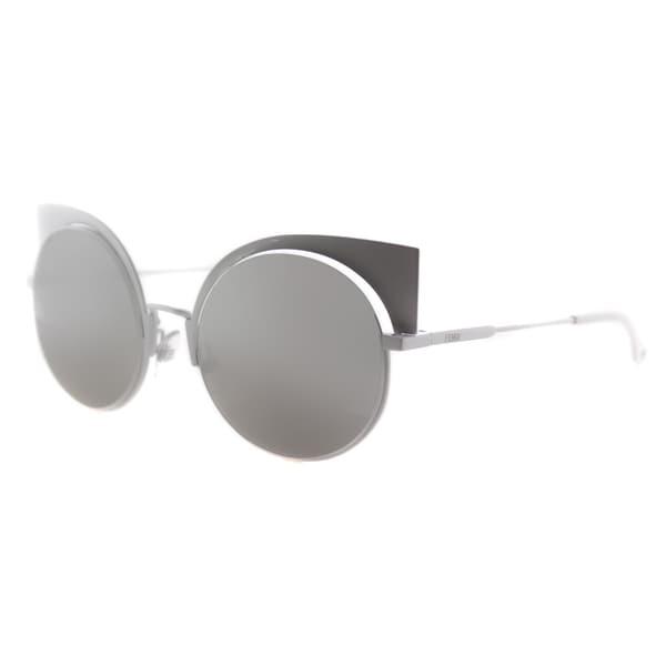 Fendi Eyeshine White Metal Cat-Eye Silver Mirror Lens Sunglasses