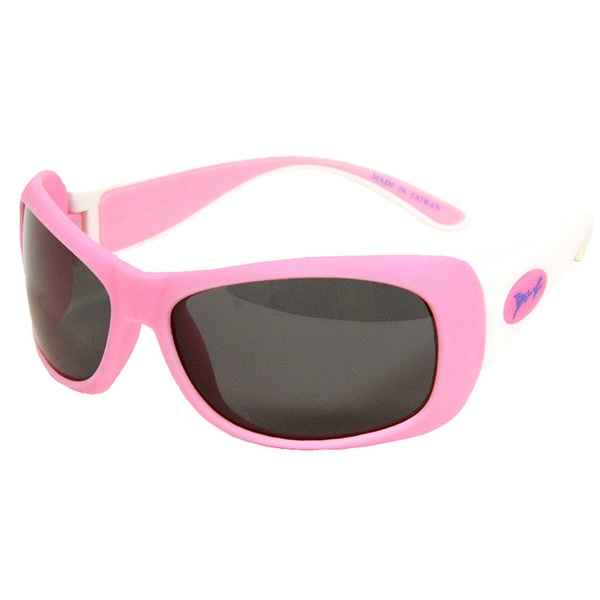 Junior Banz Girls' Pink/White Polycarbonate/Rubber Sunglasses