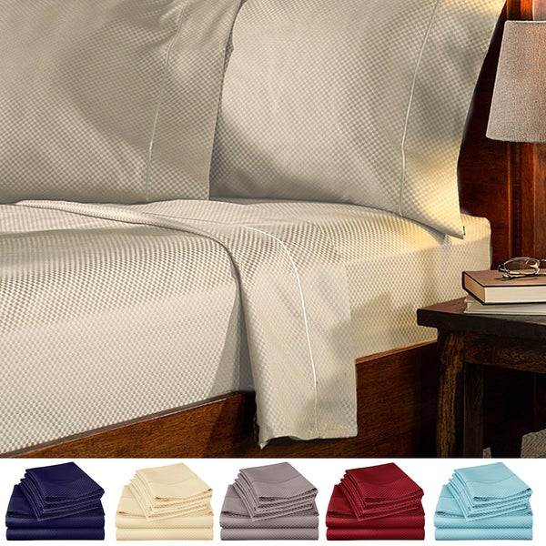 Checker Collection 1800 Series Deep Pocket 4-Piece Sheet Set