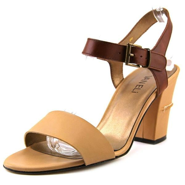 Vaneli Women's Candida Tan Faux Leather High Heel Sandals