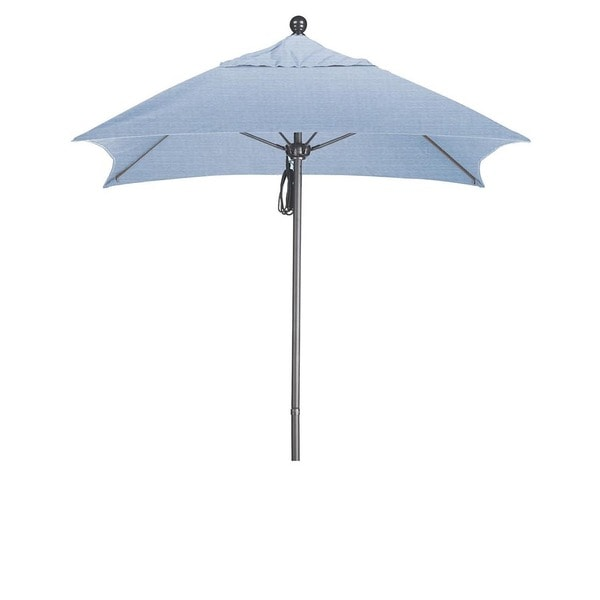 California Umbrella 6' Sq. Aluminum Frame, Fiberglass Rib Market Umbrella, Push Open, Anodized Sliver Finish, Sunbrella Fabric 19221242