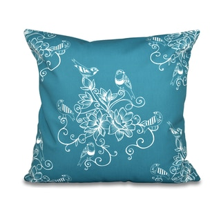 16 x 16-inch Morning Birds Floral Print Outdoor Pillow