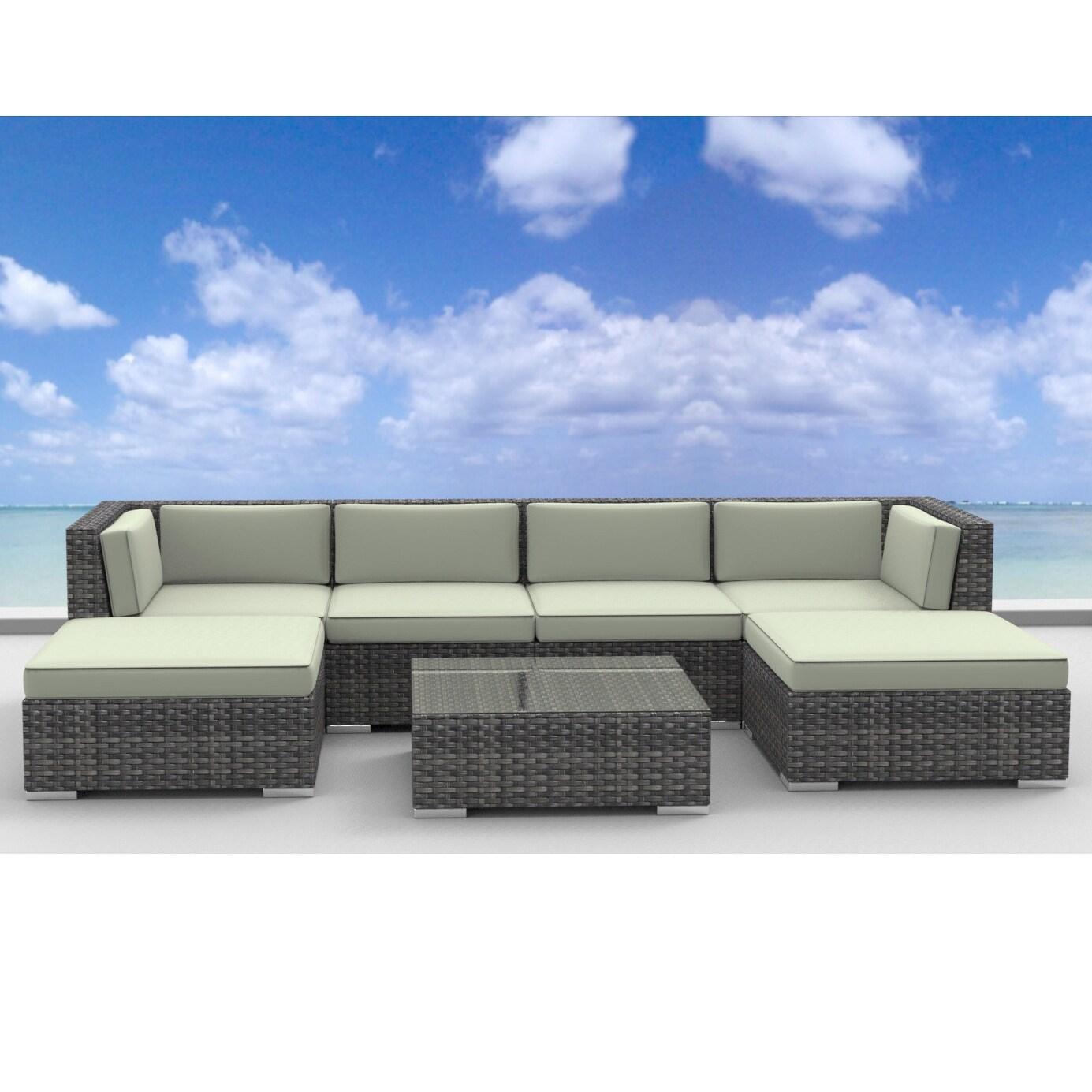 Patio Furniture 7 Piece Set urban furnishing maui rattan 7-piece outdoor sectional sofa patio