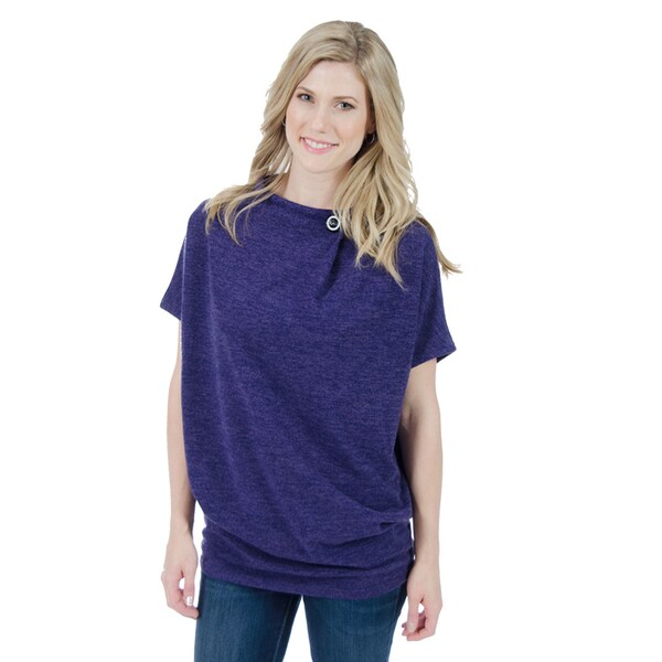 Trisha Tyler Women's Purple Polyester/Spandex Button Neck Short Sleeves Tunic