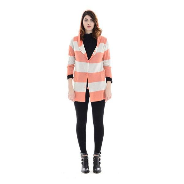 Trisha Tyler Women's Peach Striped 3/4-sleeved Hoodie Cardigan