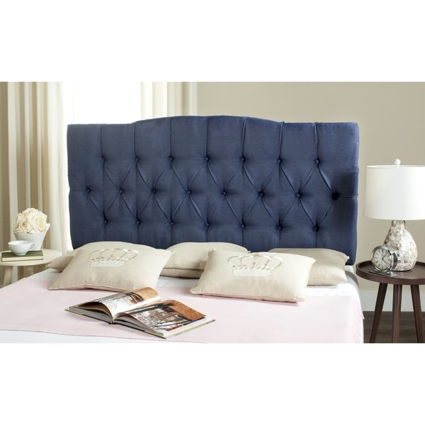 Safavieh Axel Navy Linen Upholstered Tufted Headboard (King)